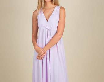 70 s Vintage Pastel Purple Maxi Nightgown Dress SIZE S M e1b01f9ca