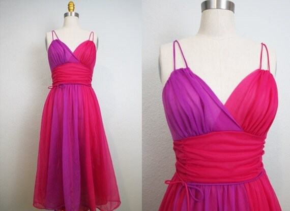 50's Vintage Sheer Purple Magenta Colorblock Night