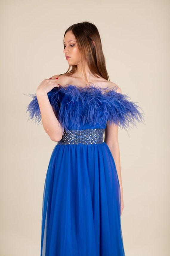 Vintage Blue Feather Rhinestone Belt Long Ball Gow