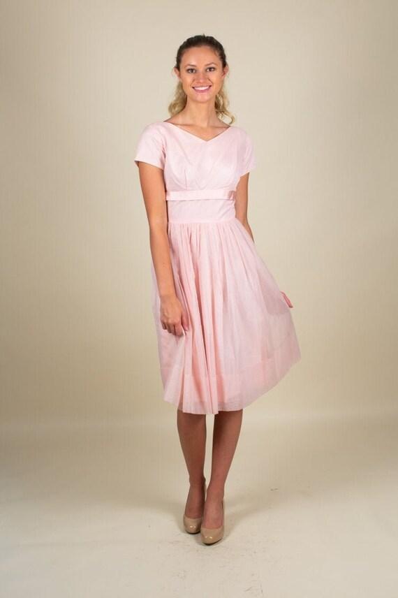 50's Vintage Sweetheart Pastel Pink Prom Dress SIZ