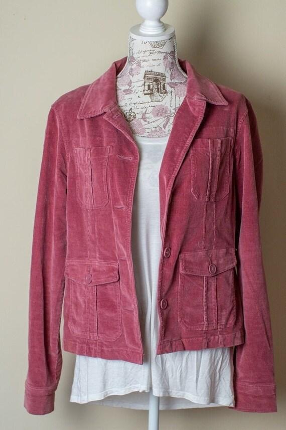 70s Dusty Pink Corduroy Coat Jacket SIZE Medium