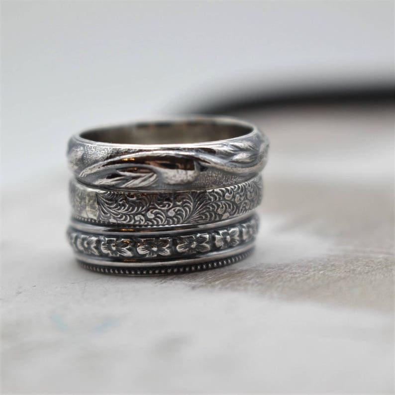 3f98d44faedc8 Floral Pattern Ring - Sterling Silver Ring Band - Rustic Wedding Band -  Gift for her - Jewelry sale - silver band - ring