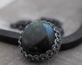 Labradorite Sterling Silver Necklace - Labradorite Pendant - Valentines Day Gift