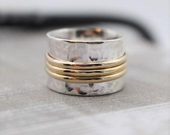 Sterling Silver Gold Spinner Ring - Gold Silver Fidget Ring