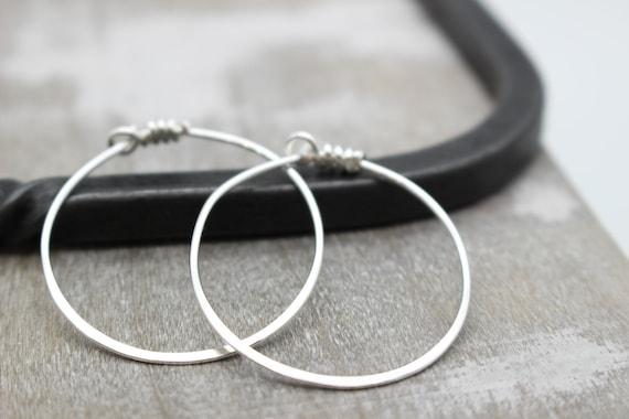 Large Hoop Earrings Sterling Silver Hoops Big Hoops Etsy