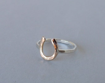 Silver Gold Horseshoe Ring - Horseshoe Ring - Gift for her - horse lover gift - Jewelry sale - Midi Ring