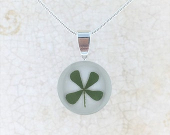 Four Leaf Clover Necklace, Real Four Leaf Clover Pendant, Silver Plated Clover Pendant