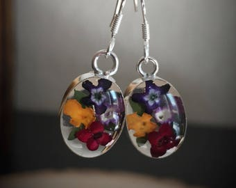 Real Miniature Multicolor Flowers Earrings/Clear Background