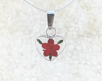 Mother's day Mini Heart Necklace. Sterling Silver Miniature Real Red Flowers Clear Heart