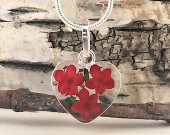 Pressed Flowers, Heart Necklace, Love Heart Necklace, Sterling Silver Miniature Flowers, Dried Flowers Charm