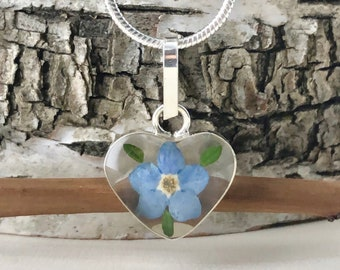 Forget me not Heart Necklace, Forget me not Heart Pendant, Forget me not Sterling Silver Pendant, Pressed Forget me not Clear Back Heart