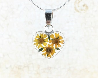 Heart Sunflower Necklace, Real Miniature Sunflowers.,Sterling Silver Pendant, Mother's Day gift