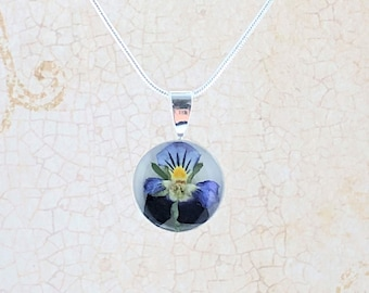 Pansy Necklace. Real Pansy Pendant. Silver Plated Pansy Pendant Necklace. Silver Plated Chain Included
