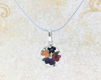 Real Flowers Necklace, Wild Flowers Clear Necklace, Miniature Dried Flowers Necklace, Pressed Flowers Jewelry,Mother's Day Jewelry