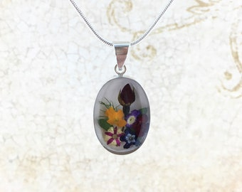 Rose Bouquet Necklace, Wild Flowers Necklace, Miniature Flowers Pendant, Pressed Flowers Jewelry