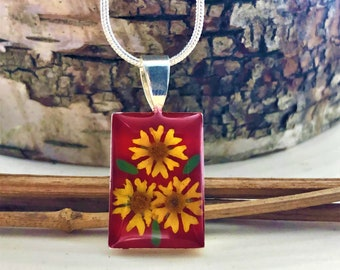 Sunflower Necklace, Real Sunflowers Necklace, Pressed Flower Jewelry, Pressed Sunflowers Pendant, Pressed Flowers Jewelry