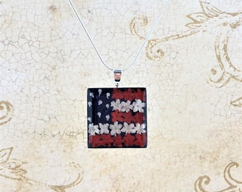 American Flag Necklace Real Dried Flowers, Miniature Flowers American Necklace Silver Plated Necklace