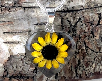 Sunflower Necklace,  Sunflower Heart Necklace,Sterling Silver Sunflower Pendant, Pressed Flowers Necklace