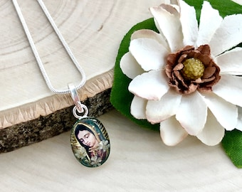 Our Lady of Guadalupe Necklace, Our Lady of Guadalupe Pendant with Pressed Baby's Breath Flowers, Virgin Mary Necklace
