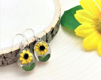 Sunflower Earrings, Pressed Sunflowers Earrings, Miniature Sunflower Earrings, Sterling Silver Sunflowers