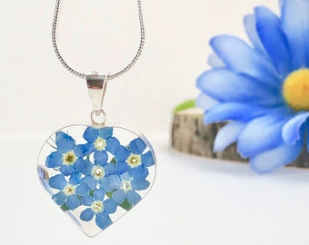 Forget me not Necklace, Forget me not Heart Necklace, Sterling Silver Forget me not Pendant, Memorial Gift