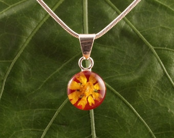 Sterling Silver Miniature Pressed Sunflower Round Red Pendant