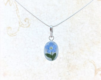 Forgetmenot Necklace, Real Forgetmenot Flower, Miniature Forgetmenot Pendant Sterling Silver, Silver Plated Chain 18""