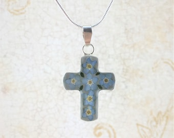 Forget me not Cross, Forget me not Necklace, Miniature Forgetmenot Flowers, Forgetmenot Silver Pendant White Background