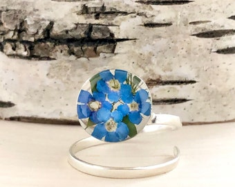 Forget me not ring, Forget me not adjustable ring, Sterling Silver Spiral Ring