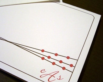 Personalized Note Cards - Brown Lines
