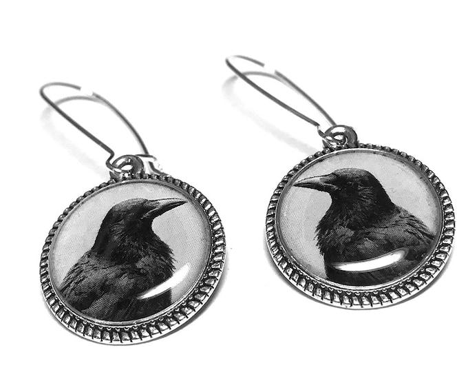 Raven Earrings, Edgar Allan Poe, Book Jewelry, Black Dangle Earrings, Handmade Jewelry, Resin Jewelry, Halloween, Goth Jewelry, Black Crow