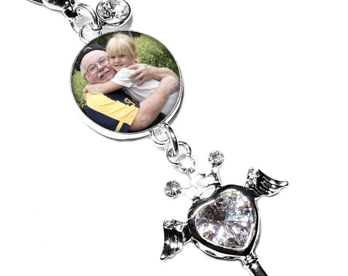 Crystal Heart Wedding Bouquet Photo Charm, Custom Memory Charm, Personalized Memorial Bridal Bouquet Angel Brooch, Gift for the Bride