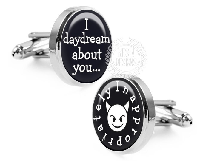 I Daydream About You Cufflinks, Funny Cufflinks, little Devil, Sexy Gift for Him, Anniversary, Wedding, Handmade Cufflinks, Mens Accessories