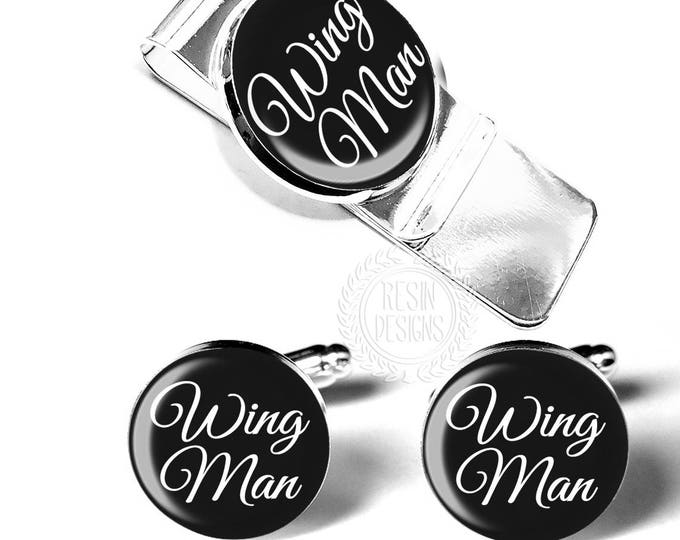Wing Man Wedding Cufflinks and Money Clip Gift Set, Best Man Gift Ideas, Wedding Party Groomsmen Usher Gift, Best Man Proposal