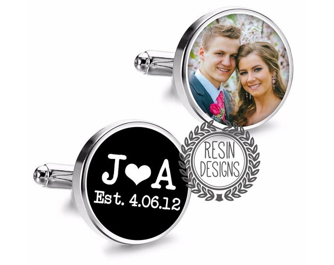 Personalized Picture Cufflinks, Wedding Photo Custom Cufflinks, Grooms Gift, Fiance Cufflinks, Anniversary Gift for Him, Date Cufflinks