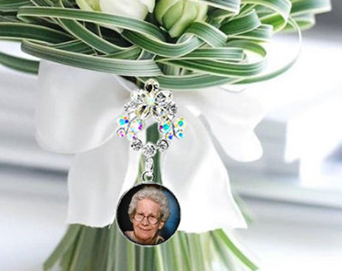 Crystal Flower Wedding Bouquet Photo Charm, Custom Picture Memory Charm, Personalized Memorial Bridal Charm, Bridal Bouquet Pin Brooch
