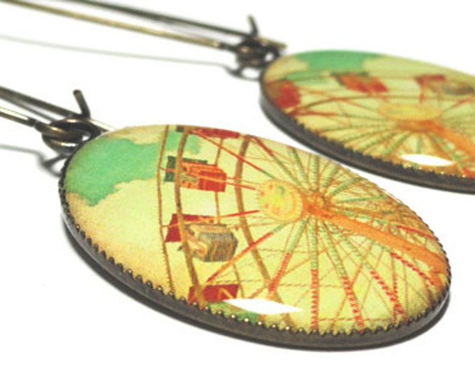 Ferris Wheel Earrings, Carnival Jewelry, Vintage Fair, Bronze or Silver Resin Dangle Earrings, Handmade Jewelry, Gift for Her, Resin Jewelry