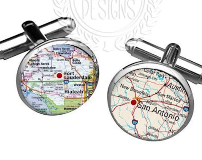 Personalized Map Cufflinks, Destination Wedding Cufflinks, Custom Fathers Day Gift, Grooms Gift for Him, Anniversary Gift, Mens Accessories