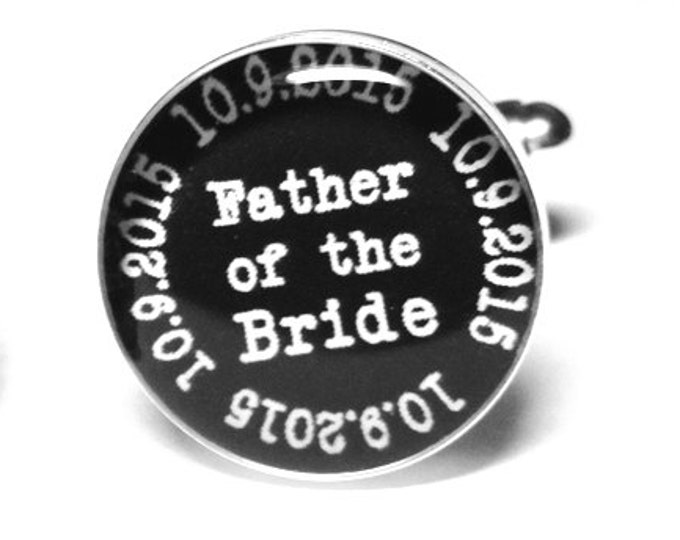 Father of the Bride Cufflinks, Personalized Wedding Cufflinks, Custom Cufflinks, Wedding Party, Gift for Dad, Handmade, Wedding Gift for Him