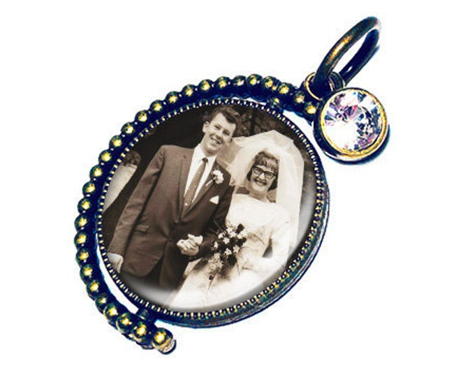 Custom Spinning Crystal Wedding Bouquet Picture Charm, Photo Memory Charm, Bridal Brooch, Personalized Memorial Charm, Bronze or Silver