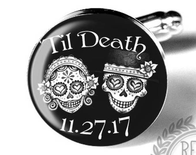Day of the Dead Personalized Sugar Skull Wedding Cufflinks