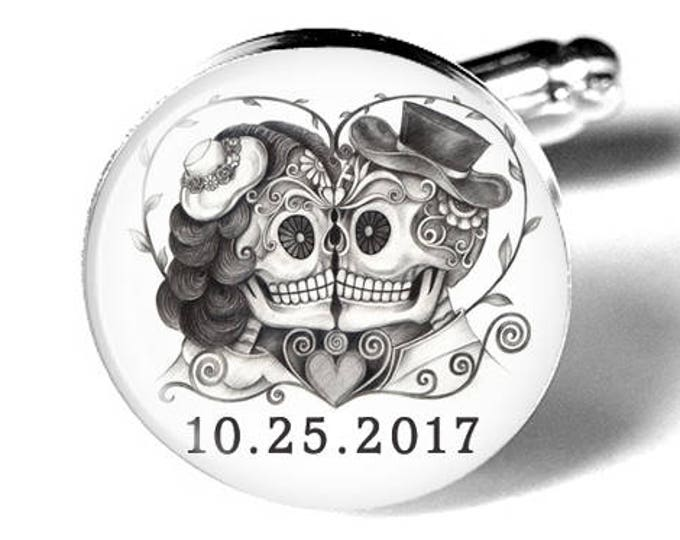 Sugar Skull Custom Wedding Cufflinks, Personalized Day of the Dead Cuff Links, Fiance Gift, Macabre, Mens Accessories, Handmade, Groom Gift