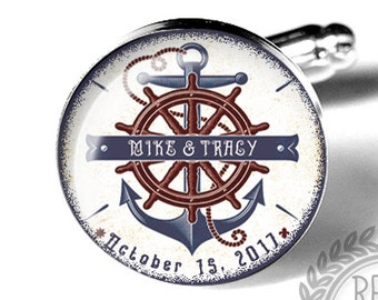 Nautical Anchor Custom Personalized Wedding Cufflinks, Fiance Gift, Anniversary, Military, Beach Wedding, Groom, Mens Accessories