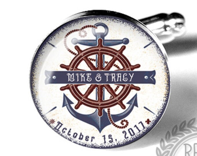 Anchor Custom Wedding Cufflinks, Personalized Fiance Cuff Links, Anniversary, Military, Nautical Beach Wedding, Groom, Mens Accessories