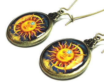 Sun and Moon Jewelry, Sun and Moon Earrings, Dangle Earrings, Handmade Jewelry, Resin Earrings,  Sun & Moon, Resin Jewelry, Gift for her