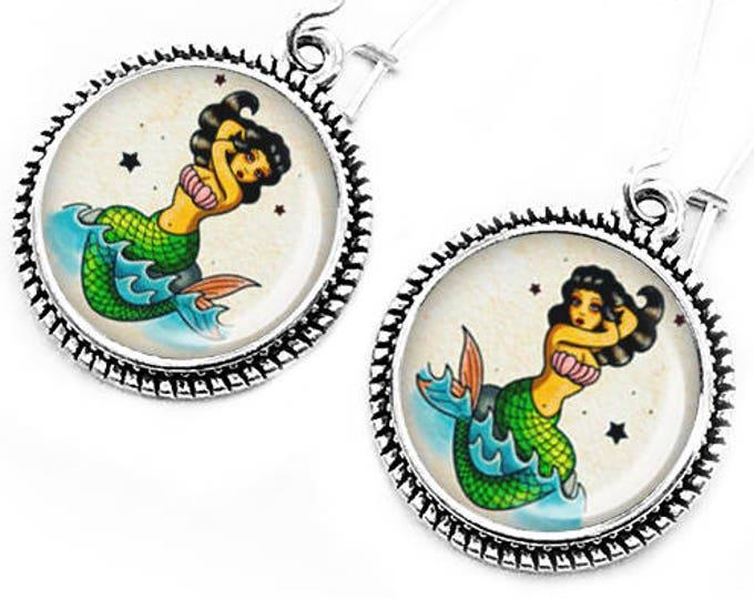 Mermaid Earrings, Siren Jewelry, Dangle Earrings, Gift for her, Retro Handmade Jewelry, Vintage Mermaid, Ocean Jewelry, Beach, Mermaids