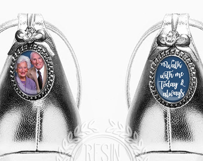 Something Blue Wedding Shoe Charms, Personalized Bridal Charms, Custom Brooch, Memorial Shoe Charm, Picture Photo Charms, Photo Charms
