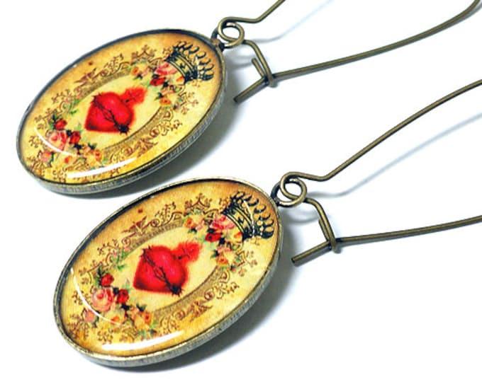 Sacred Heart Earrings, Religious Jewelry, Dangle Earrings, Mary, Christian, Resin, Handmade Jewelry, Sacred Heart, Handmade Earrings