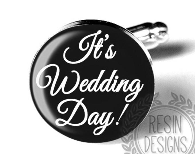 Custom Wedding Day Grooms Cufflinks, Personalized Wedding Accessory, Fiance Gift, Black and White, Anniversary Gift, Custom Date
