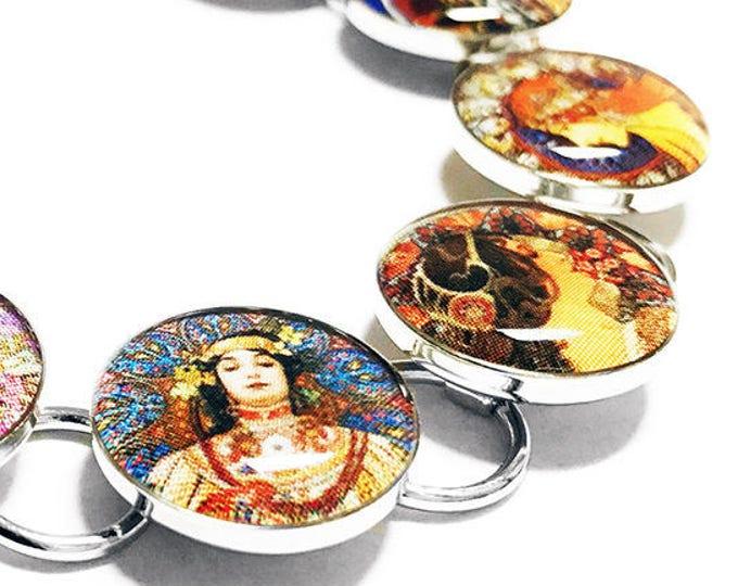 Alphonse Mucha Art Bracelet, Artist, Painter, Art Nouveau, Famous Paintings, Fine Art, Resin Bracelet, Handmade Jewelry, Historical